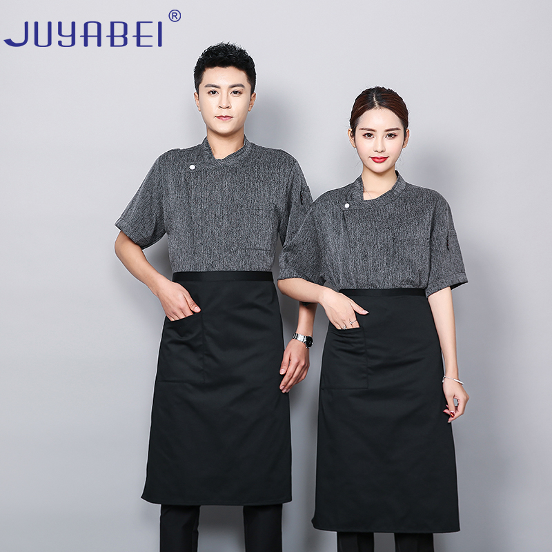 Men's And Women's Breathable And Comfortable Gray Cotton Linen Short-sleeved Chef's Jacket Restaurant Food Service Chef Uniform