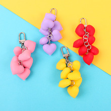2019 Hot Fluffy Fur pompom Keychain Soft Lovely Heart Shape Pompon faux Rabbit Fur Pom Poms Ball Car Handbag Key Ring Gift цена в Москве и Питере