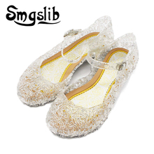 Girls Sandals Kids Shoes Princess Jelly Wedge Fashion Elsa Shoes Child Crystal Sandals For Girls Shoes Hollow Out Flats Shoes kids hollow out flats