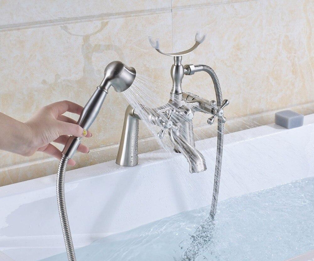 Brushed Nickel Bathtub Faucet Double Handles Mixer Shower Faucet ...