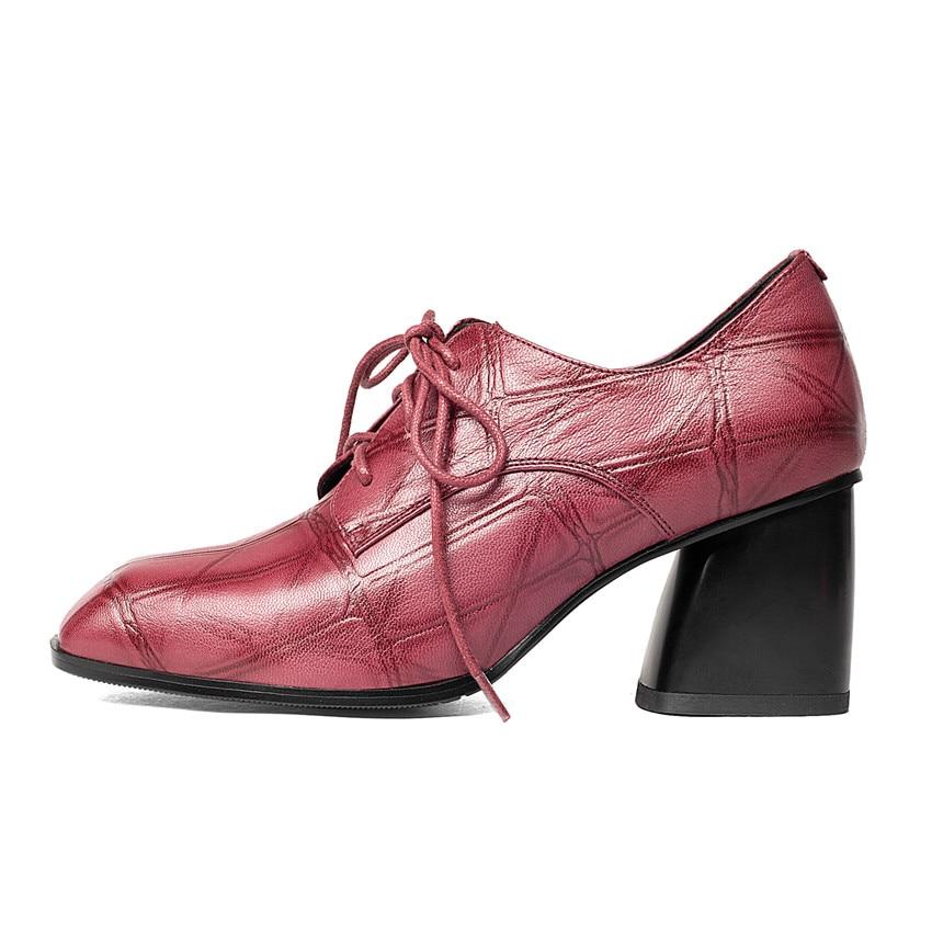 Genuine Leather High Heels Women Pumps High Heel Shoes Stiletto Woman Party Wedding Shoes Kitten Heel Plus Size 33 - 40 41 42 43