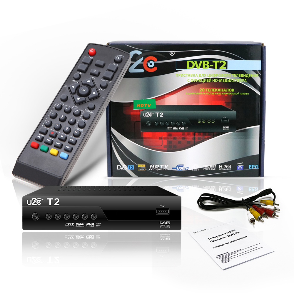 Qualità U2C DVB-T Smart TV Box DVB-T2 T2 STB H.264 MPEG-HD 1080 P TV Ricevitore Digitale Terrestre DVB T/T2 Set Top Box TV Set