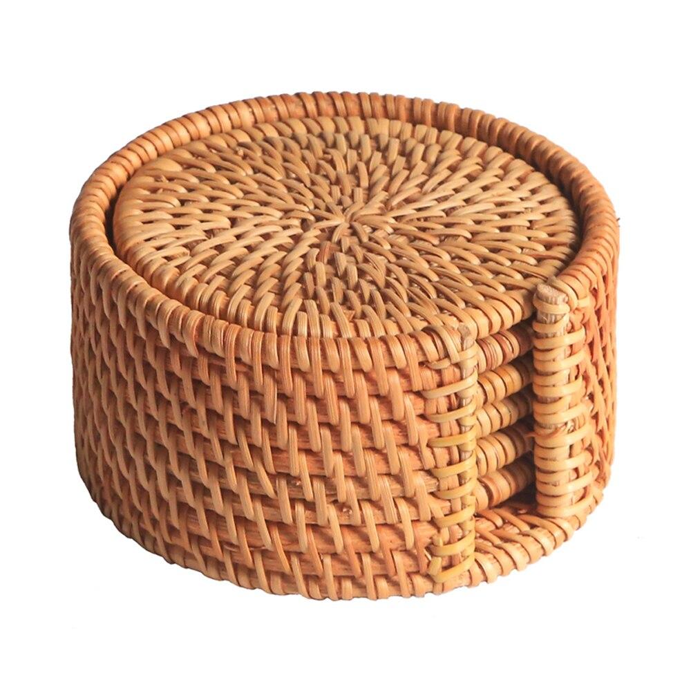 6 pcs/lot boisson Creative Verres set pour kungfu thé accessoires ronde vaisselle Napperon Plat tapis En Rotin Armure tasse mat pad