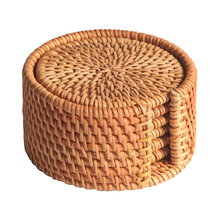 6pcs Rattan Coasters with Holder