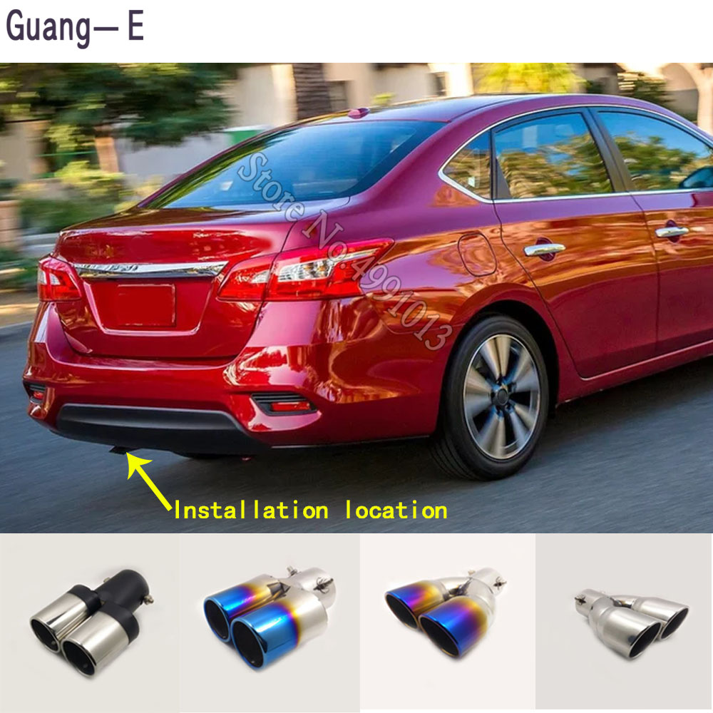 for nissan sentra 2013 2017 car stickers cover muffler exterior back end pipe dedicate exhaust tip tail outlet ornament 1pcs