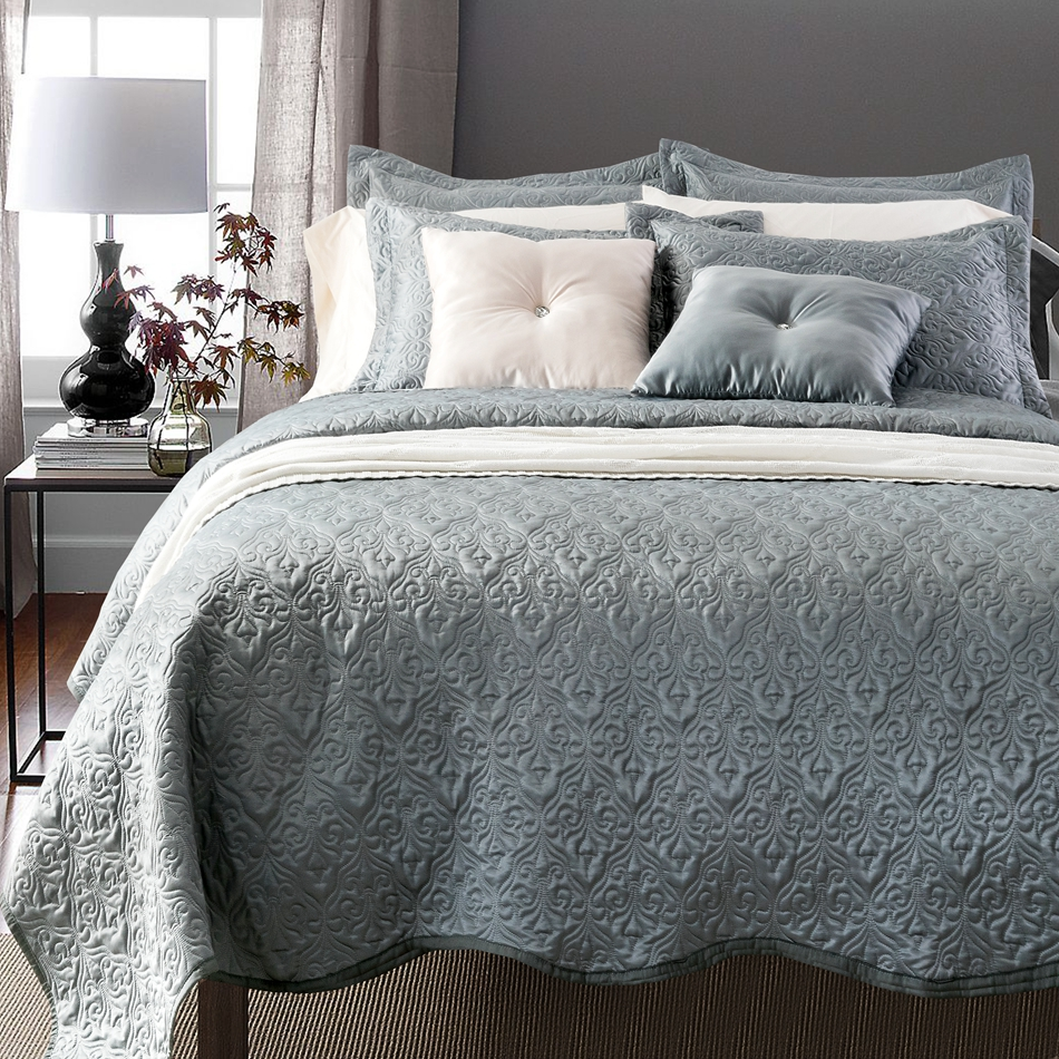 Grey itay 230x250cm bedcover bedcover summer comforter for Decorative bed covers