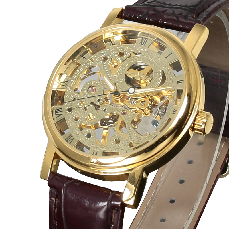 Winner Casual Stainless Steel Men Mechanical Watch Skeleton Hand Wind Watch For Men Dress Wristwatch