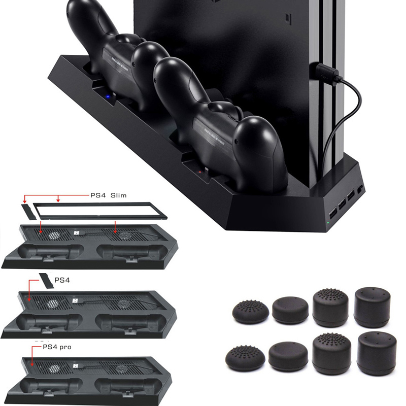 3 in 1 PS4 Slim/Pro PS4 Vertical Stand w/ Cooling Fan Charging Stand Dual USB HUB Charger Ports for Playstation 4 PS4 Slim Pro