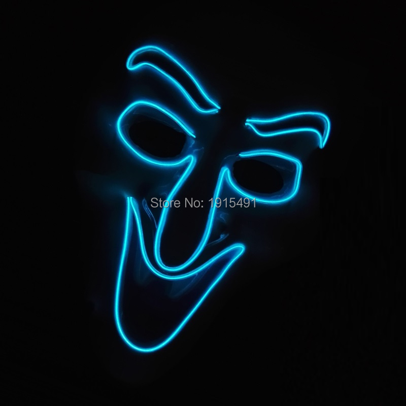 High-grade Euramerican style Glowing EL wire Mask Novelty Lighting Child Plastic Toys EL Mask for Christmas,Easter Day,Halloween