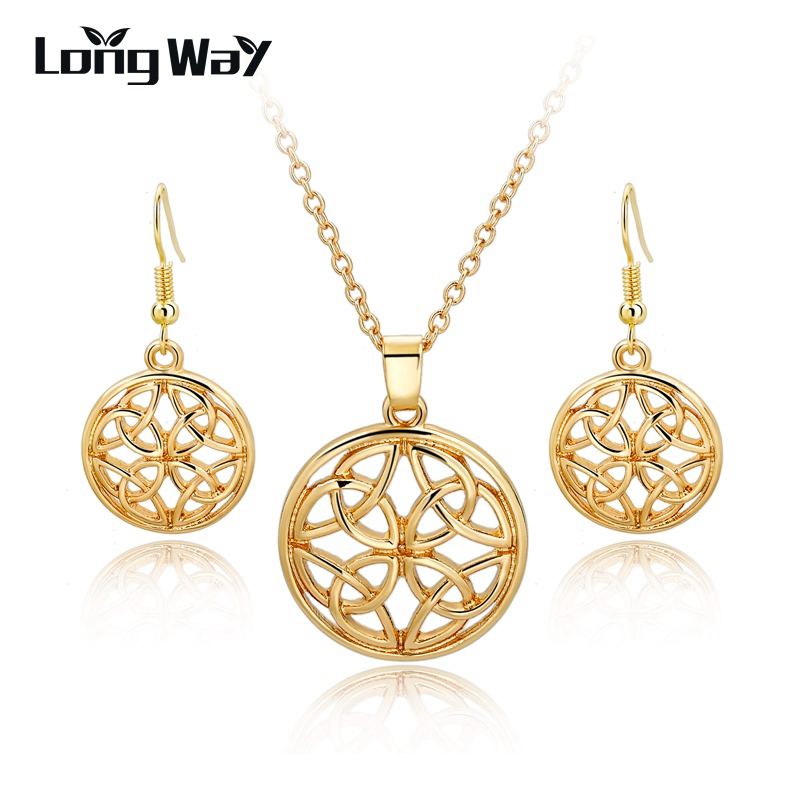 LongWay Luxury Gold Color Drop Eearrings Necklaces Hol Round Jewelry Sets for Women Wedding Anniversary Top Quality SET160004103