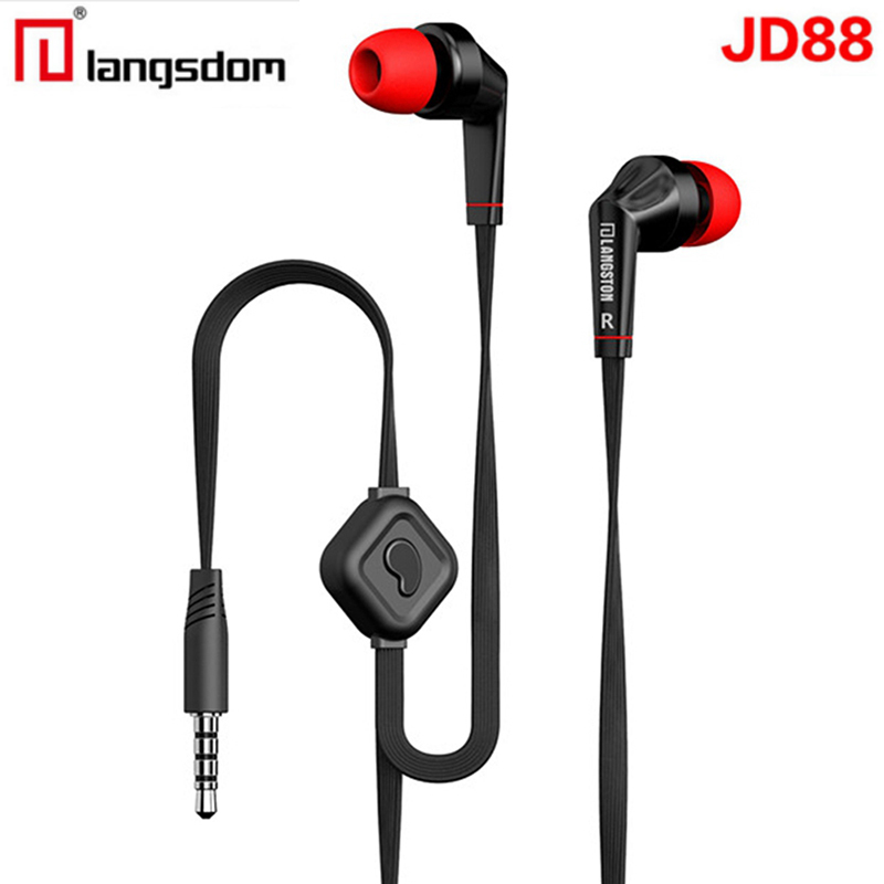 Original Earphone Langsdom JD88 Earbuds Super Bass Professional Headset with Microphone for Xiaomi auriculares PC brand earphone universal rez m4 earbuds super bass professional headset with microphone for gaming earpods airpods