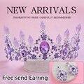 2016 Chegada Nova Charme Purple Crystal crown Nupcial tiaras Magnífico Rhinestone Diadema para o vestido de Casamento Da Princesa Acessórios Para o Cabelo