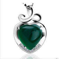 925 Sterling Silver Pendant Double Color Green Chalcedony Inlay Red Necklace NEW Heart