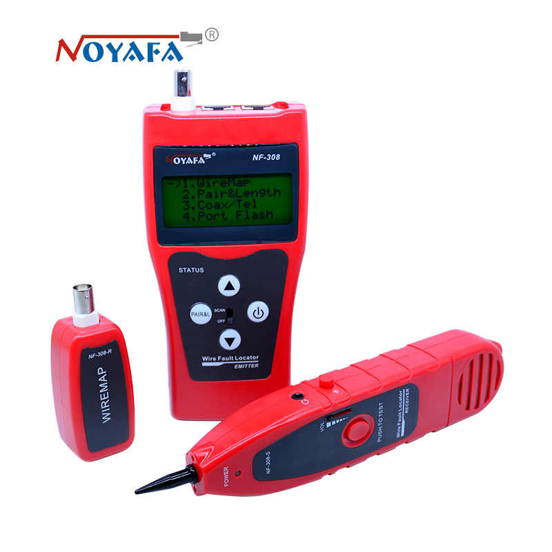 Hecho de monitoreo de red cable tester LCD NF-308 de localizador de fallos de red LAN Coacial BNC USB RJ45 RJ11 color rojo NF_308