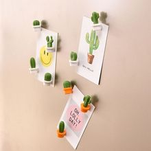 6pcs Boxed Fridge Magnets Cute Succulent Plant Magnet Button Cactus Refrigerator Message Sticker Funny Children Birthday Gift