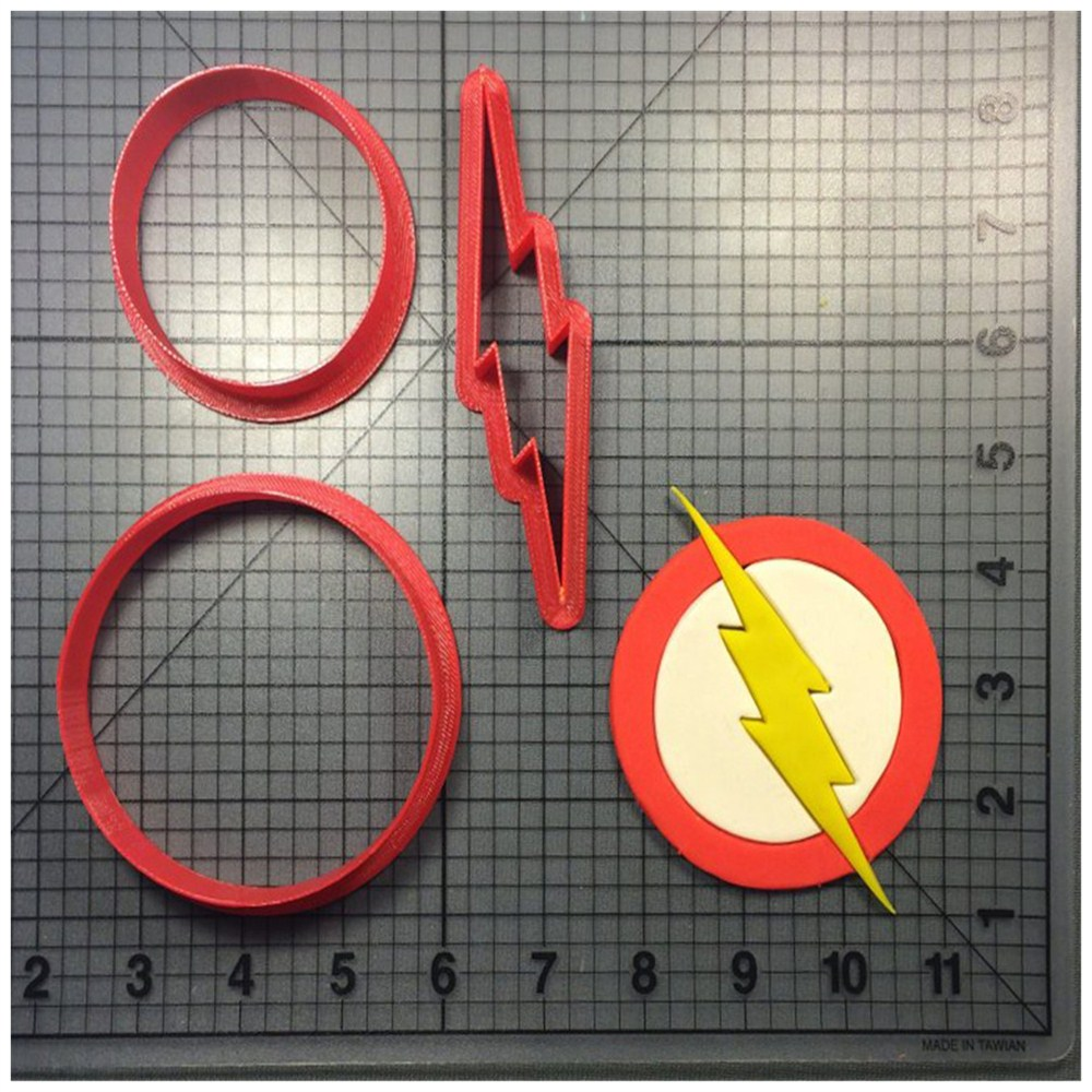 The Flash Logo Design Made 3d Printed Fondant Cupcake Top Cookie Cutter Kitchen Accessories China