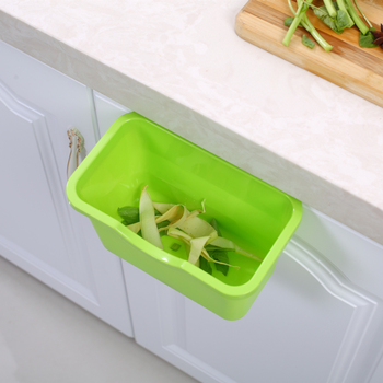 Plastic Hanging Trash Can and Mounted Waste Bin for Kitchen Cabinet Door Used as Kitchen Accessories