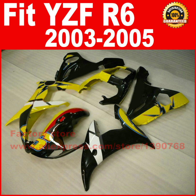 New motorcycle fairings kit for YAMAHA R6 2003 2004 2005 YZF R6 03 04 05  yellow black fairing kits body repair part chrome spike full fairing bolt kit fastener nuts screws for yamaha yzf r6 2003 2004 2005