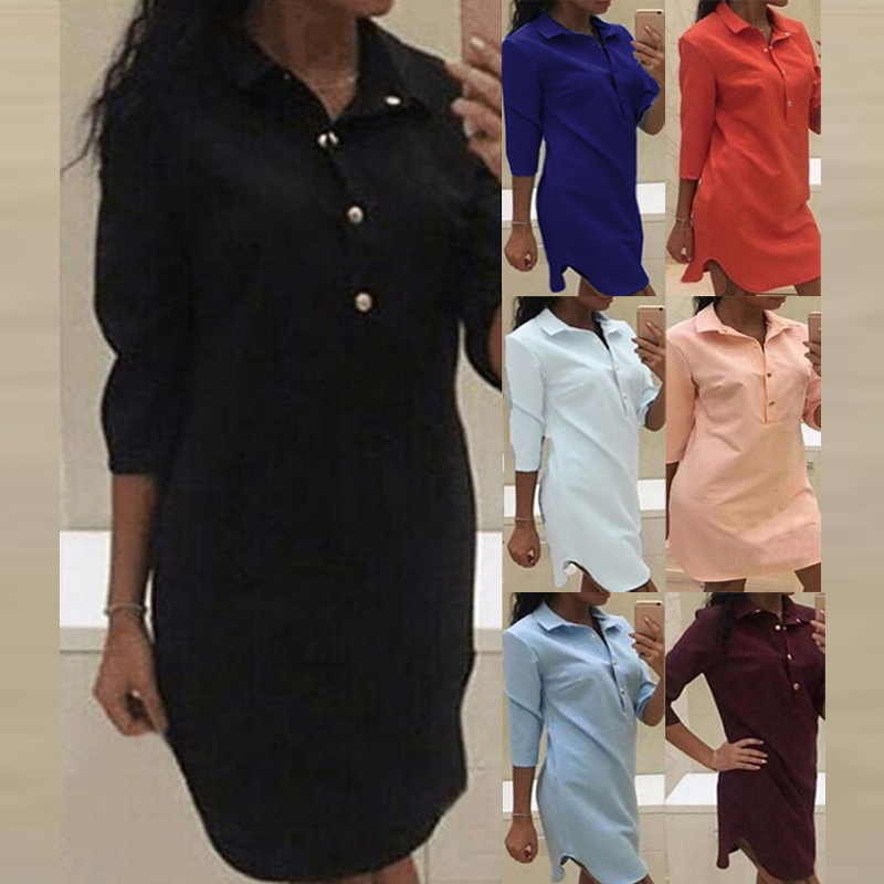 7 colori Celmia Women Shirt Dress 2019 Primavera Estate Sexy lunga tunica Top manica lunga Mini abiti corti Abiti Mujer Plus Size