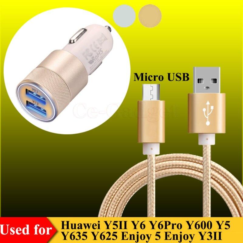 US $4.98 |Kabel ładujący Micro USB + podwójna ładowarka samochodowa USB do Huawei Y5II Y6 Y6Pro Y5 Y635 Y625 Y3II ciesz się 6S 6 5S 5 synchronizacja