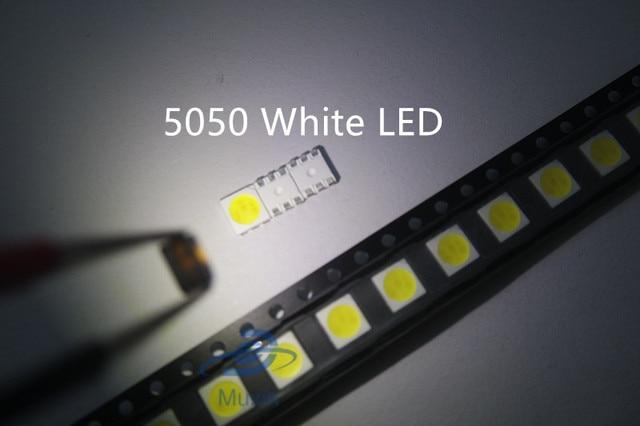 50pcs SMD PLCC LED 5050 White Ultra Bright 15-18LM 60mA 3V Surface Mount SMT Chip LED SMD5050 Light Emitting Diode Lamp LED5050