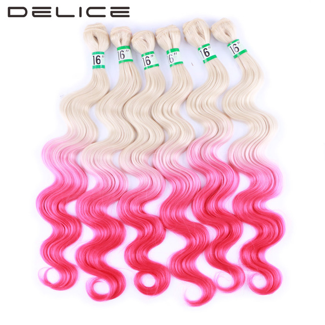 Delice 6pcspack 16inch Blonde Pink Ombre Color Body Wave Hair