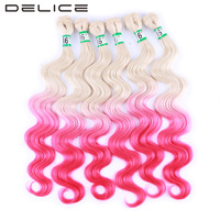 DELICE 6pcs Pack 16inch Blonde Pink Ombre Color Body Wave Hair Weaving Synthetic Hair Extensions Weft