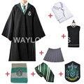 Envío Libre Robe Capa Slytherin Cosplay Suéter Falda de La Camisa Corbata Insignia de La Bufanda Por Encargo para Harry Potter Cosplay