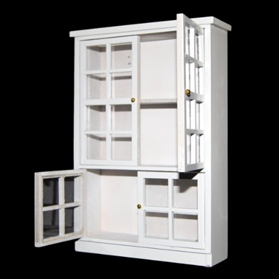 New 1/12 Dollhouse Miniature Furniture Kitchen Dining Cabinet Display Shelf White