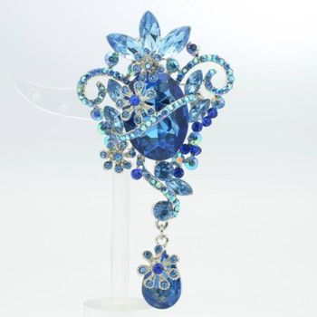 Rhinestone Crystals Vintage Blue Flower Charm Broach Brooch Pendant accessories 3.7″ 6301