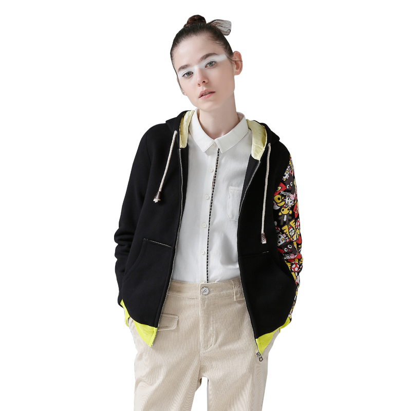 toyouth женский хлопок-стеганая куртка с длинными рукавами элегантный дизайн верхняя одежда мода мультфильм женская куртка