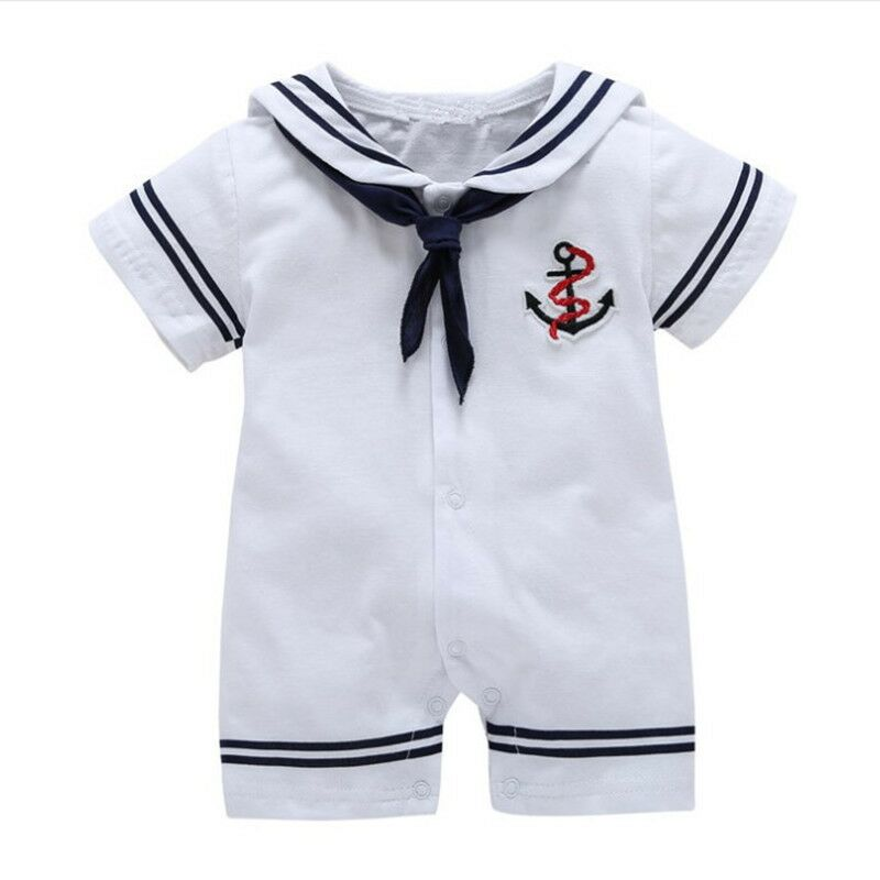 Baby Boy Sailor Suit Short Sleeved Jumpsuit Girl Clothing Stage Wear   Rompers   Navy Army Suit Halloween Cosplay Costumes Clothes