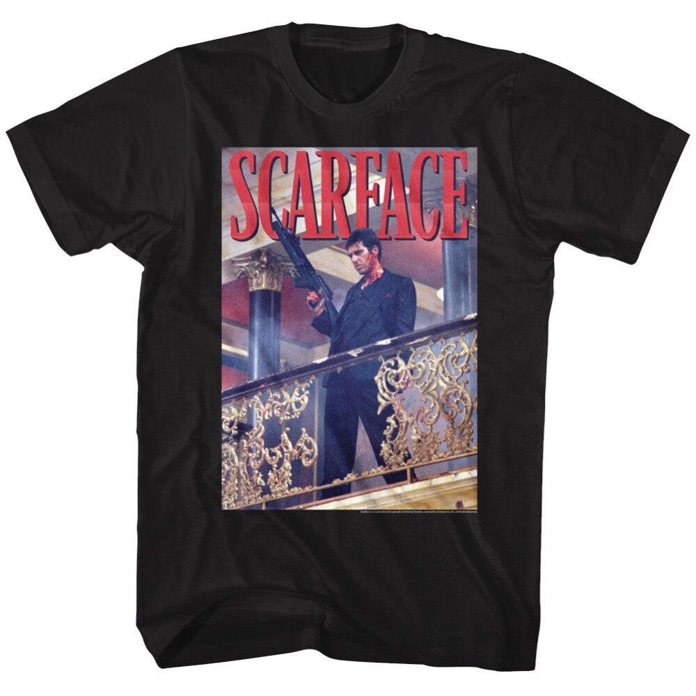 Летний стиль fashionmens официальный scarface фильм Аль Пачино футболка перила выстрел черный хлопок s-короткий рукав шеи экипажа Мода