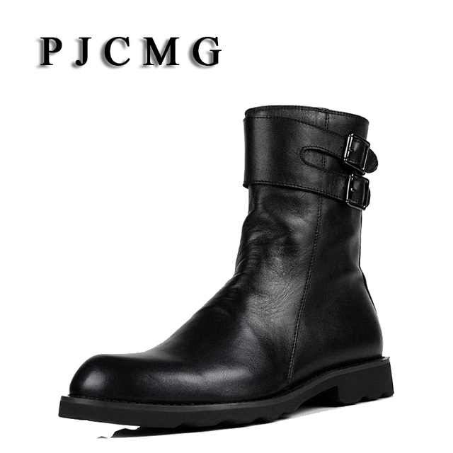 Pjcmg Men S Genuine Leather Black Outdoor Waterproof Rubber Buckle Strap Martin Business Office Formal For Mens