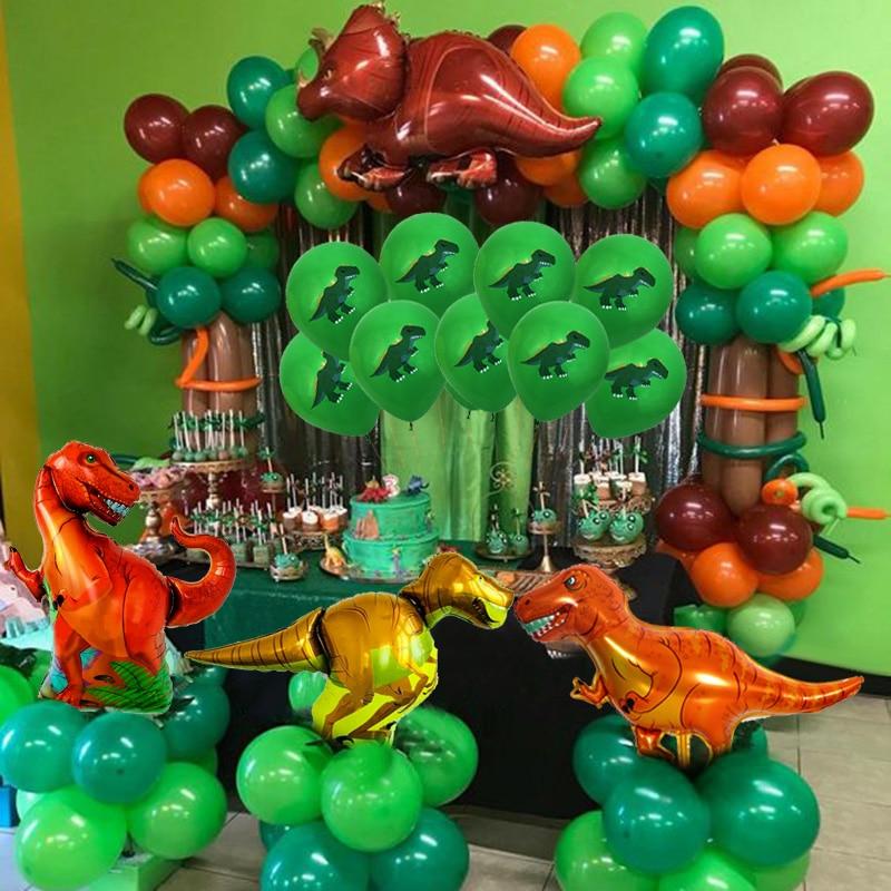 Джунгли вечерние динозавр день рождения шары Дети День рождения украшения Dino гелий шар зеленый номер баллон день рождения поставки