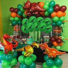 Partido da selva Balão de Hélio Balões Festa de Aniversário Crianças Decoração Do Aniversário Do Dinossauro Dino Verde Número Ballon Fontes Do Aniversário