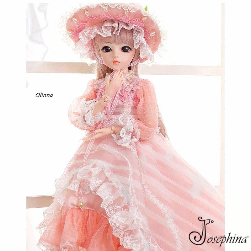 S4 Olinna 1 3 Josephina Doris SD BJD Dolls Handmade Retro Pink Court  Dresses and Lierihattu Beautiful Dream Toys for Girls-in Dolls from Toys    Hobbies on ... 683e027f71