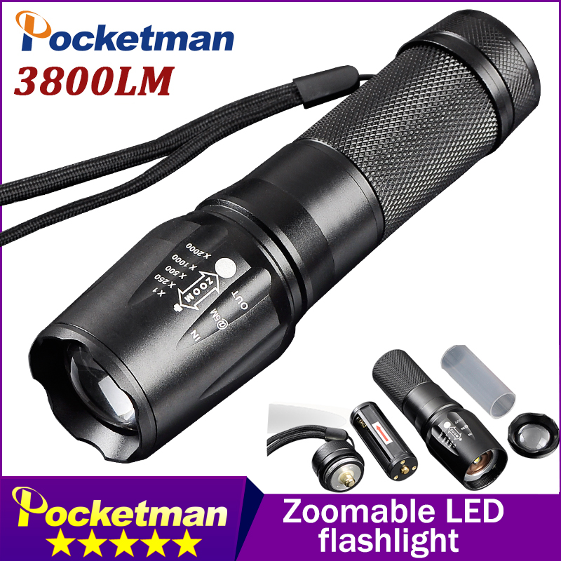 Led Lighting Rational T6 3800 Lumens Led Flashlight Zoomable Lanterna Torch Linternas Led By 18650/aaa 5 Mode Toche Lampe Customize Drop Shipping