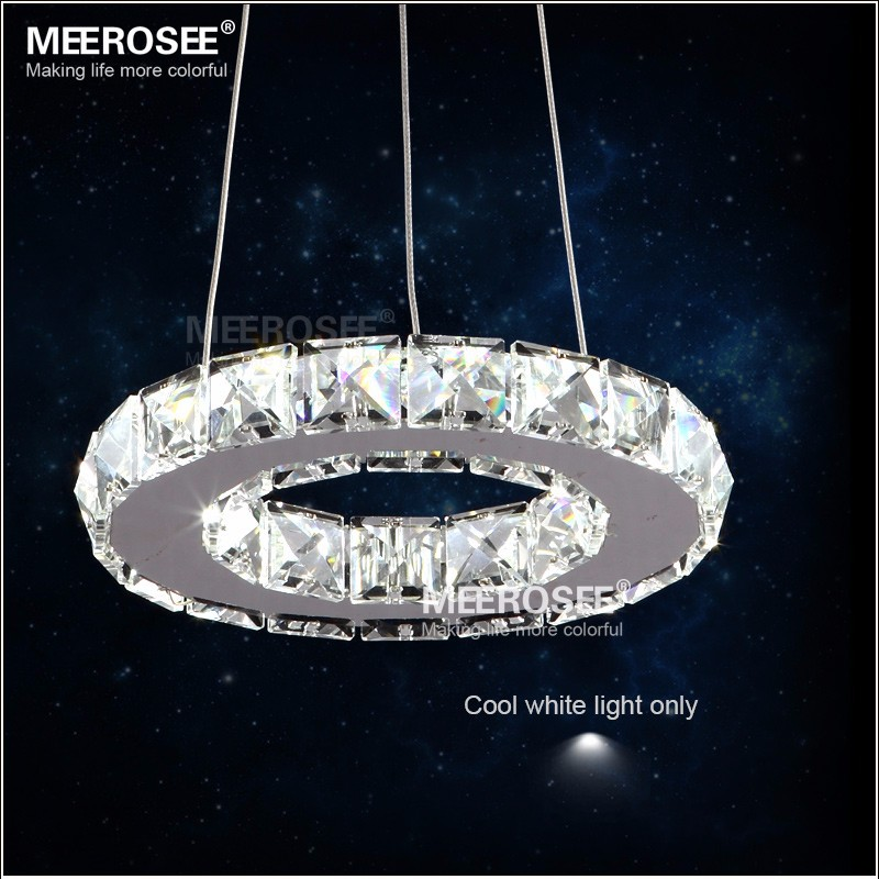 Modern Chrome Chandelier Crystals Diamond Ring LED Lamp Stainless ...