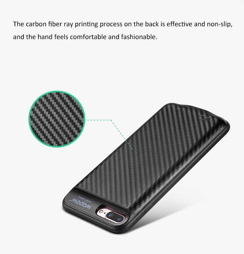 WOPOW 3650 mAh/2500 mAh caja de alimentación de la batería del clip trasero para la caja de carga de la batería externa del iphone cubierta de repuesto con la atracción magnética