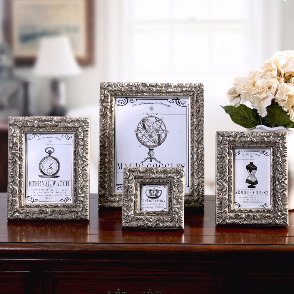1 pc new retro vintage photo frame classic style picture frame home decoration frame on the. Black Bedroom Furniture Sets. Home Design Ideas