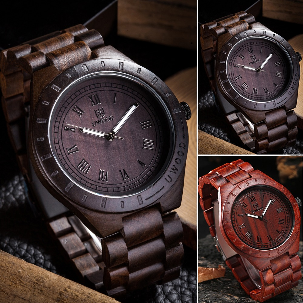 uwood relogio feminino mens black brown wood watches men top brand luxury bamboo wooden watches women`s casual quartz watches