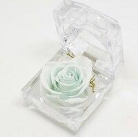 1 pcs 4.8*4.8CM Decorative Fresh Preserved Rose Flower Crystal Ring Box Wedding Souvenir Valentine's Day Birthday Gifts