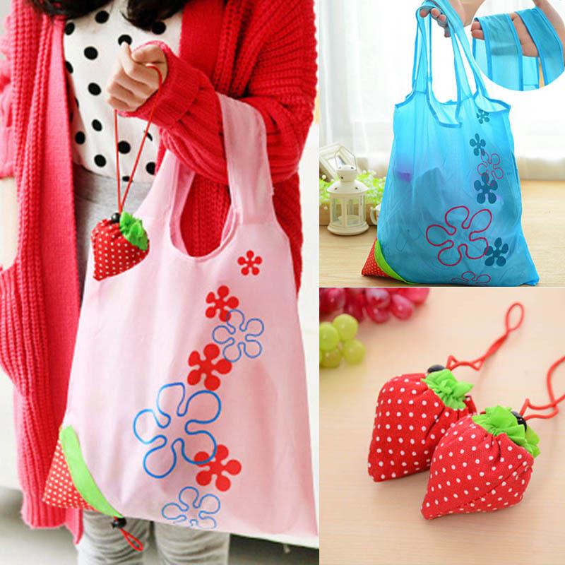 Hot Eco Penyimpanan Tas Strawberry Lipat Tas Belanja Dapat Digunakan Kembali Lipat Kelontong Nilon Besar Tas 8 Warna|Tas belanja| - AliExpress