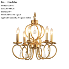 hot deal buy luxury brass copper material crystal chandelier lighting 6 lights dia47cm antique polished e14 candle chandeliers fixtures
