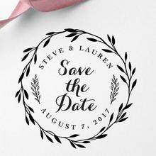 40 мм Персонализированная индивидуальная Самостоятельная Заправка чернилами Свадебная печать бизнес семья обратный адрес круглый штамп инициалы имя и Дата
