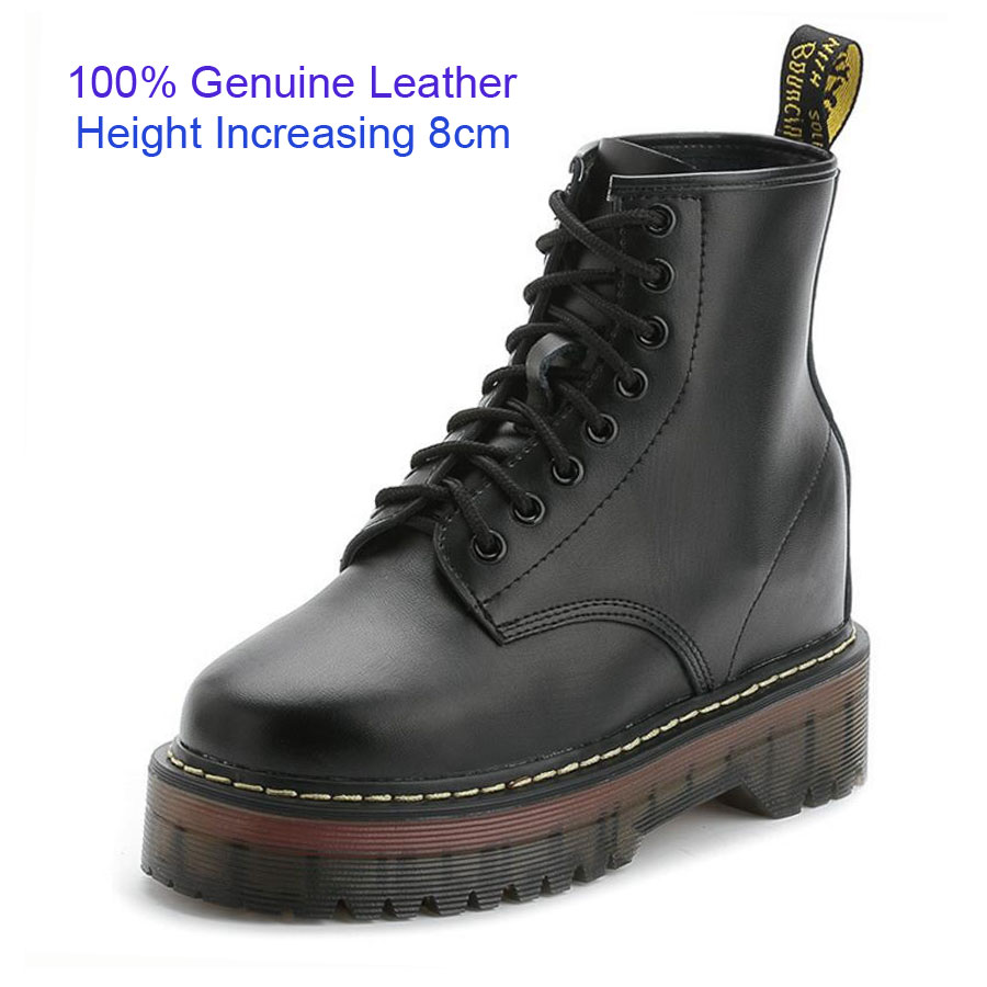 ФОТО New 2016 Fashion Black Platform Height Increasing 8cm Genuine Leather Martin Boots Women Oxfords Shoes Botas Lace Up Ankle Boots