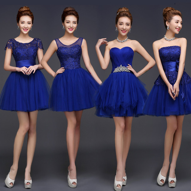 Royal Blue Bridesmaid Dress Cute Mini Puffy Lace Dresses Mismatched Styles Vestido De Festa Casamento