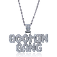 OMYFUN Factory Price Hip Hop Bubble Initial Letters Pendant Necklace Gold Silver CZ Paved Jewelry Fashion Bijoux Dropshipping