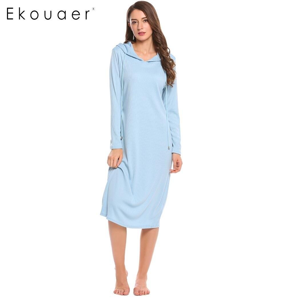 Ekouaer New Hooded Long Nightgown Women Casual Long Sleeve Nightwear Autumn Loose Solid Sleepwear Home Clothing Plus Size